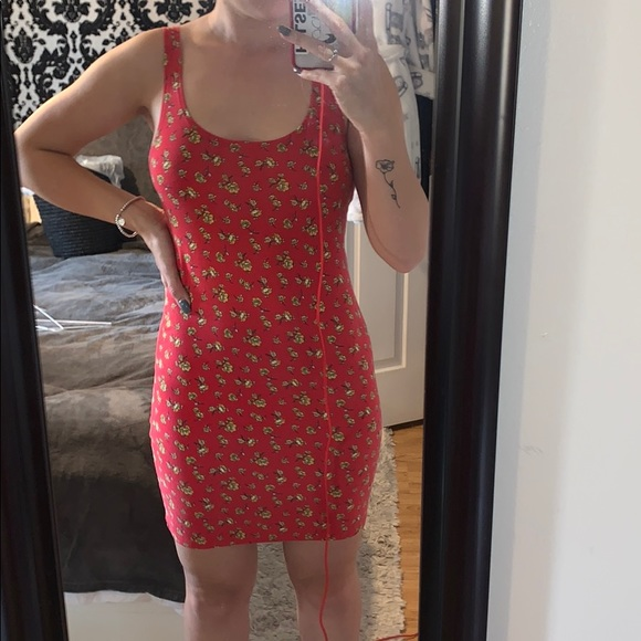 Red Body Con Floral Dress